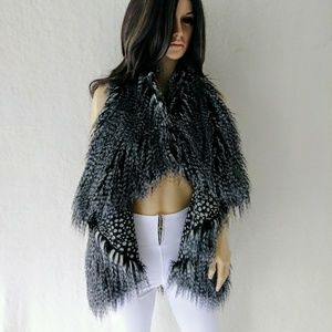 Alice + Olivia Gray Flutter Faux Fur Vest Sz XS